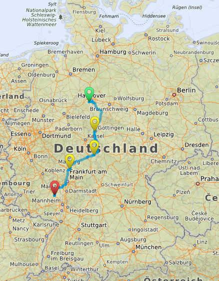 Streckenplanung Benthe-Alzey
