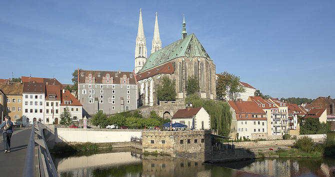 Görlitz, Neissebrücke, Waidhaus und St. Peter und Paul