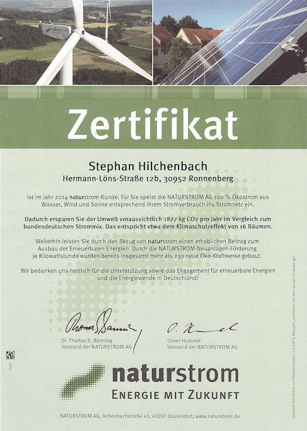 Naturstrom-Zertifikat 2014