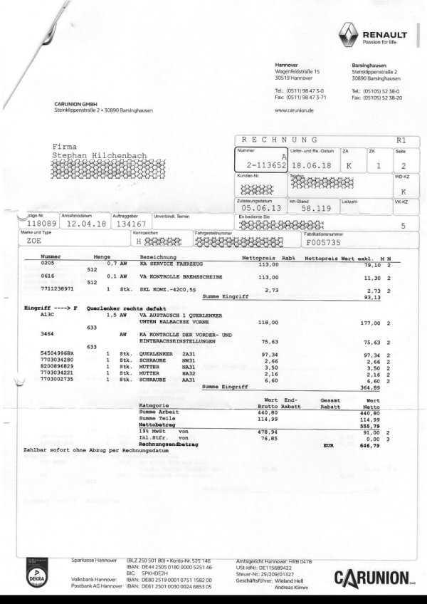 Rechnung Renault S. 2