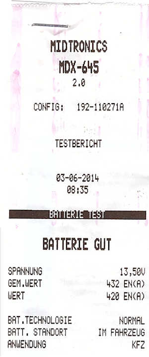 Batterietest Ergebnis