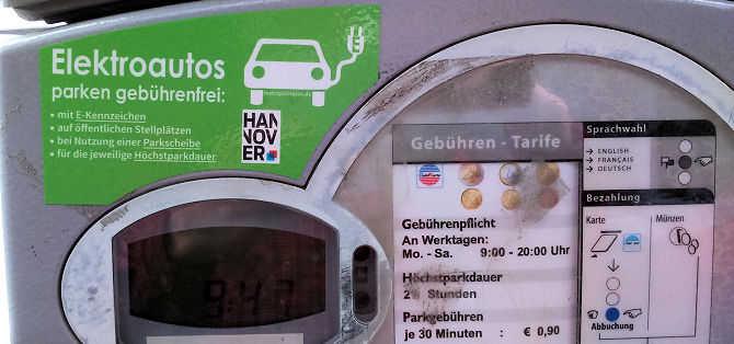 Elektroautos parken in Hannover gebührenfrei