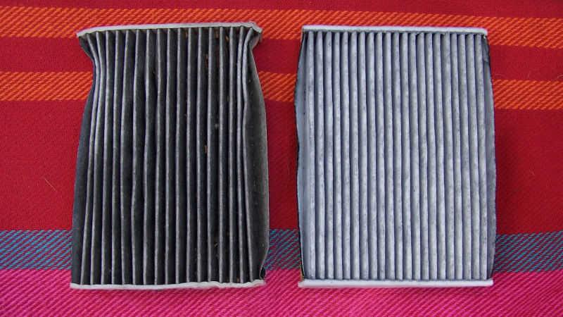 Vergleich: alter und neuer Luftfilter