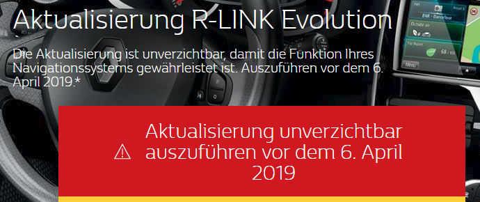R-Link Aktualisierungshinweis